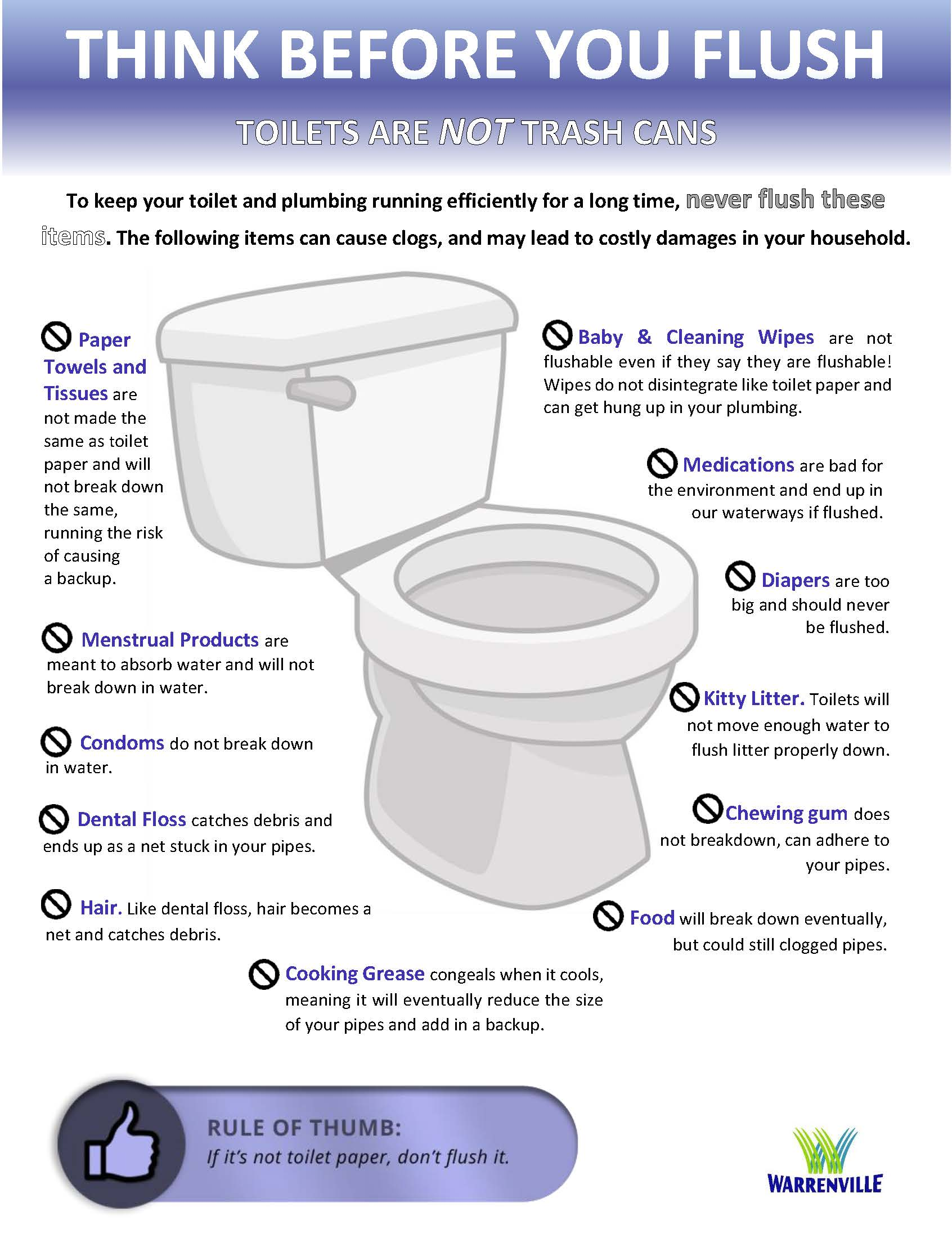 Image showing items that should not be flushed down the toilet