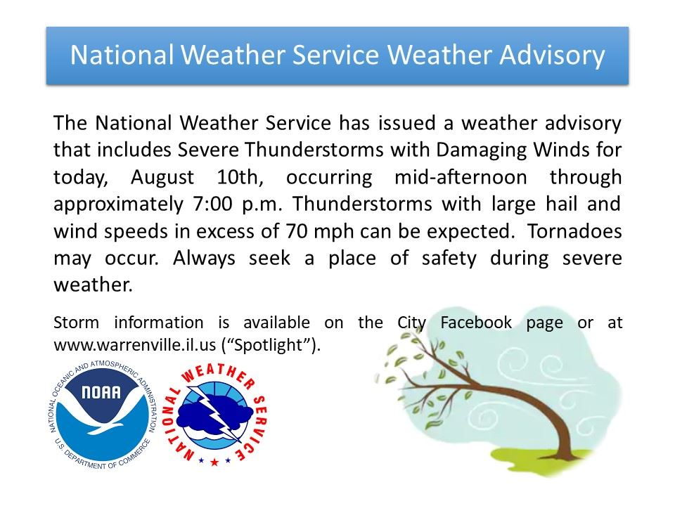 Weather Advisory Severe Thunderstorms 08/10/2020
