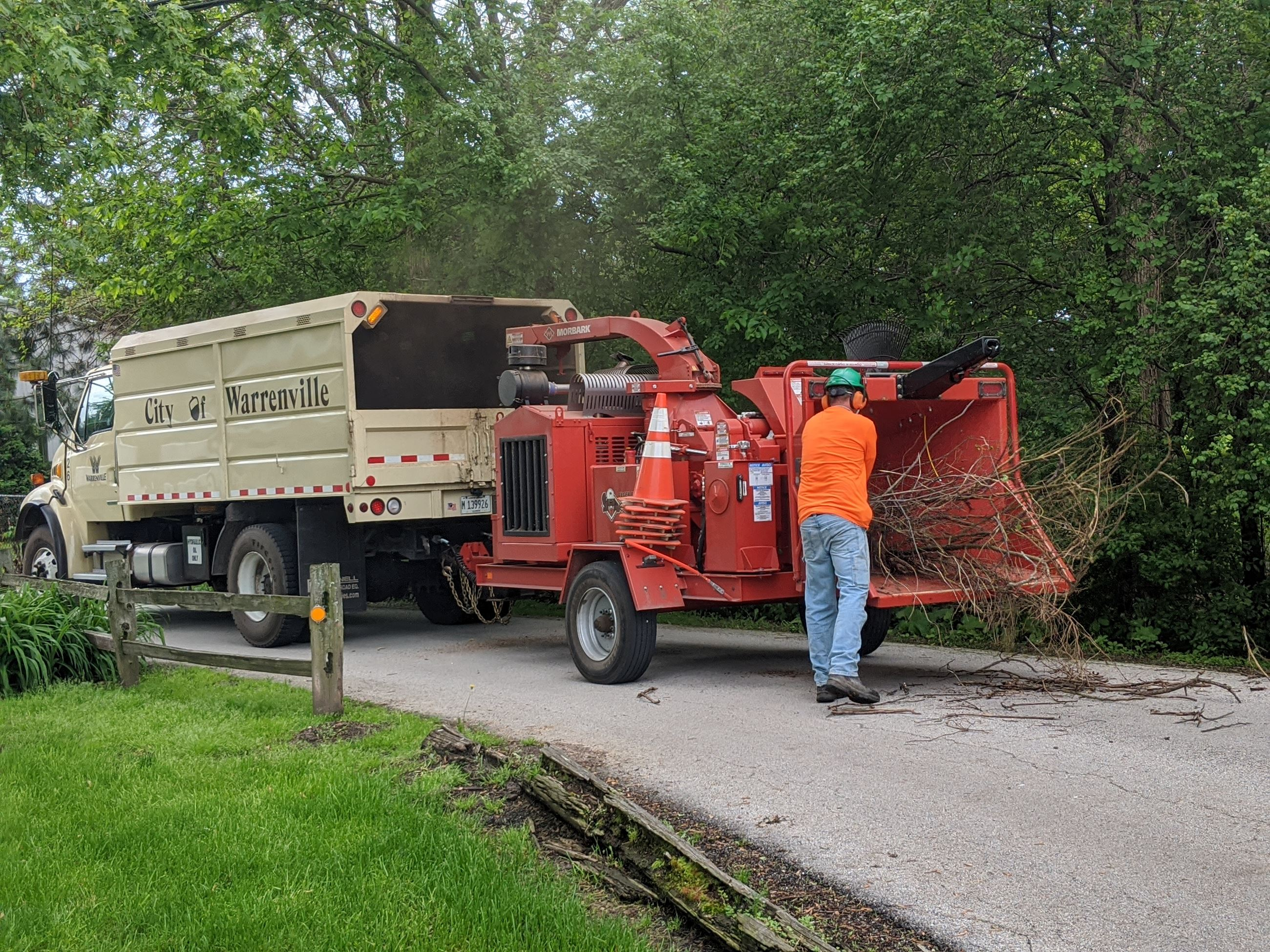 Image of Brush getting loaded into chipper truck