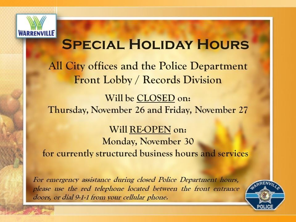 Special Holiday Hours - Thanksgiving 2020