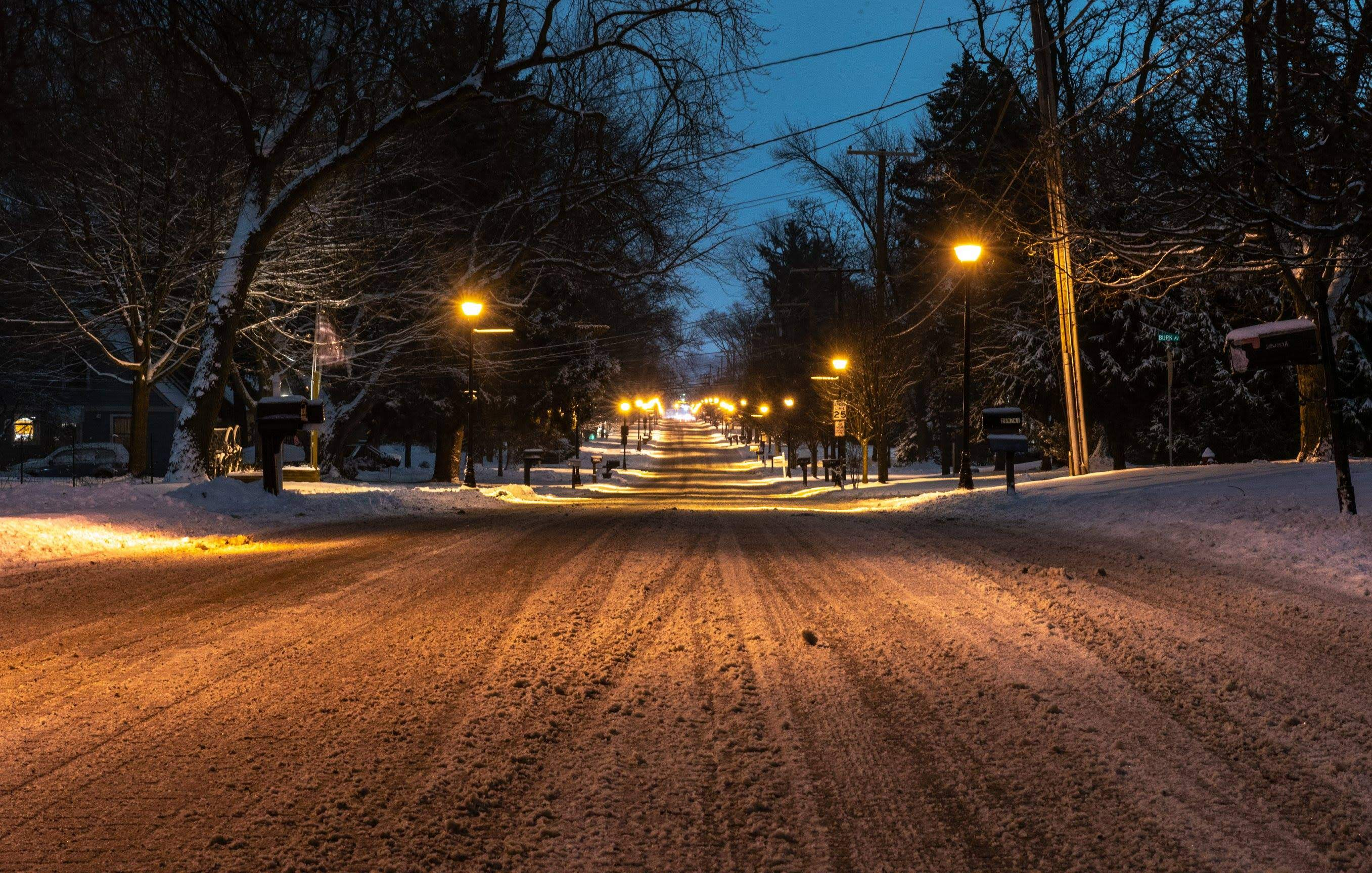 Image of a snow covered street in Warrenville (photo credit: Justin Miller)