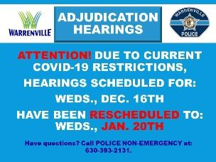 12 16 20 Adjudication Hearings rescheduled to 01 20 21